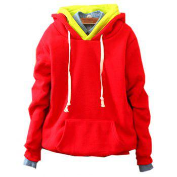 Front Pocket Pullover Fleece Hoodie - RED RED
