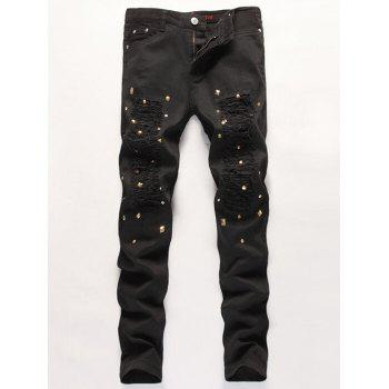 Slim Fit Stub Embellished Broken Hole Jeans