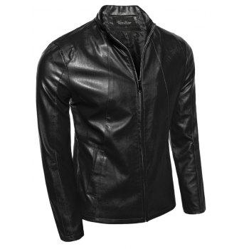 Slimming Zip-Up Stand Collar PU-Leather Jacket