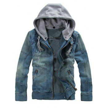 Detachable Hood Zippered Denim Jacket
