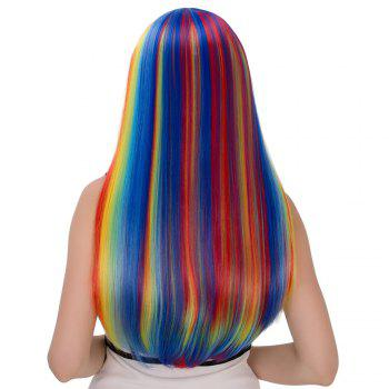 Cosplay Synthetic Rainbow Color Long Full Bang Tail Adduction Wig - COLORMIX