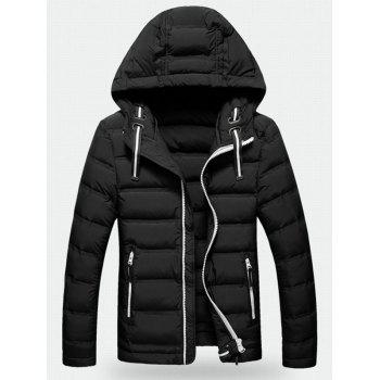 Hooded Contrast Zipper Quilted Jacket