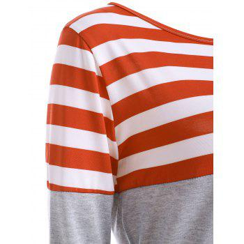 Striped Pocket Tunic T-Shirt - ORANGE RED M