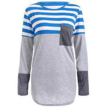 Buy Striped Pocket Tunic T-Shirt BLUE