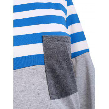 Striped Pocket Tunic T-Shirt - BLUE L