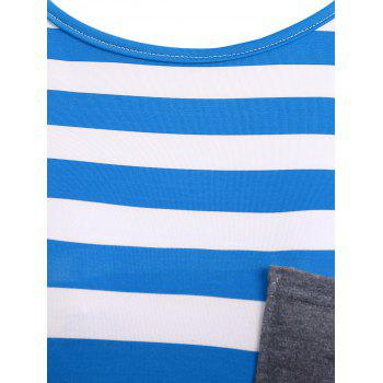 Striped Pocket Tunic T-Shirt - BLUE S