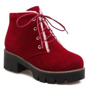 Flock Lace-Up Chunky Heel Short Boots