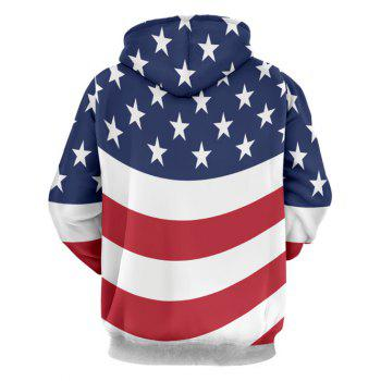 Kangaroo Pocket Stars and Stripes Printed Hoodie - COLORMIX L
