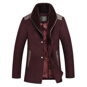 Buy Much Buttons Design PU Splicing Woolen Blend Coat WINE RED
