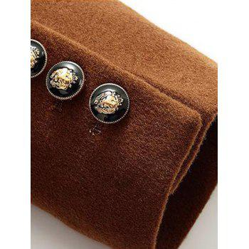 Much Buttons Design PU Splicing Woolen Blend Coat - CAMEL L