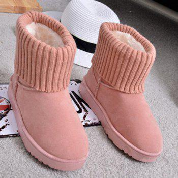 Ribbed Knitted Flock Snow Boots - 39 39