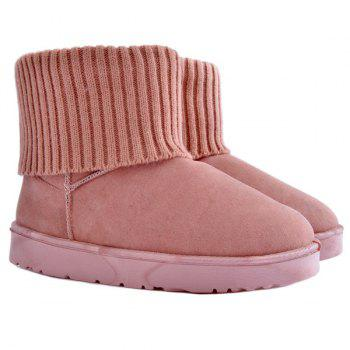 Ribbed Knitted Flock Snow Boots - PINK 39