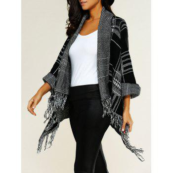 Shawl Collar Asymmetric Fringed Cardigan
