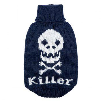 Halloween Skull Knit Crochet Winter Pet Dog Clothes - DEEP BLUE S