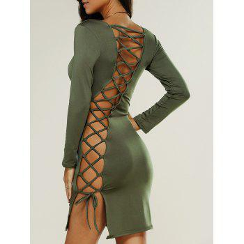 Criss Cross Long Sleeve Mini Fitted Club Dress
