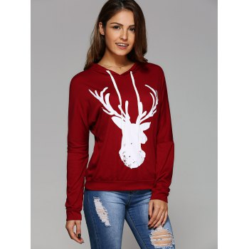Long Sleeve Deer Print Christmas Hooded T-Shirt - XL XL