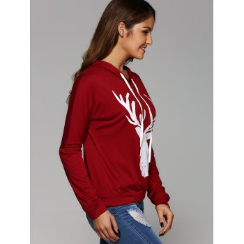 Long Sleeve Deer Print Christmas Hooded T-Shirt - RED RED