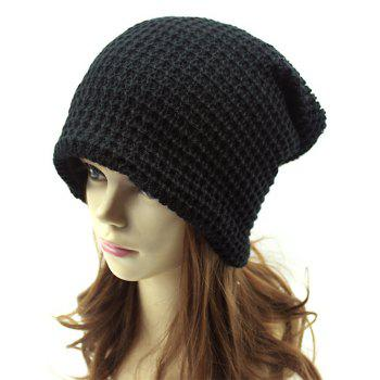 Casual Openwork Weaving Double-Deck Knit Beanie