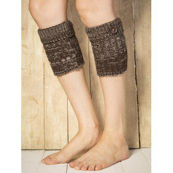 Warm Buttons Yoga Knit Boot Cuffs -  DARK COFFEE