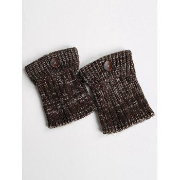 Warm Buttons Yoga Knit Boot Cuffs - DARK COFFEE DARK COFFEE