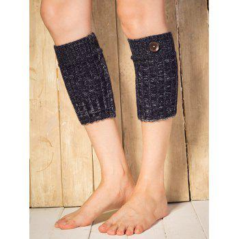 Warm Buttons Yoga Knit Boot Cuffs -  CADETBLUE