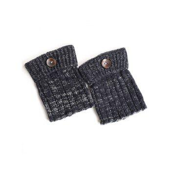 Warm Buttons Yoga Knit Boot Cuffs - CADETBLUE CADETBLUE