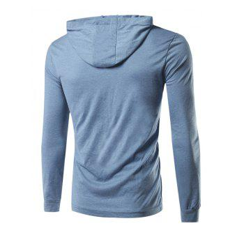 Hooded Long Sleeves Pullover Hoodie - BLUE XL