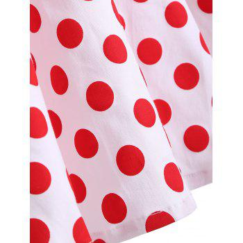 Polka Dot Halter Retro Swing Fit and Flare Dress - RED L