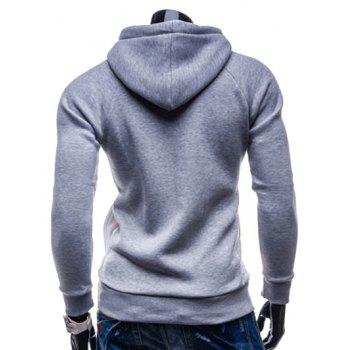 IZZUMI Drawstring Paneled Raglan Sleeve Hoodie - LIGHT GRAY XL