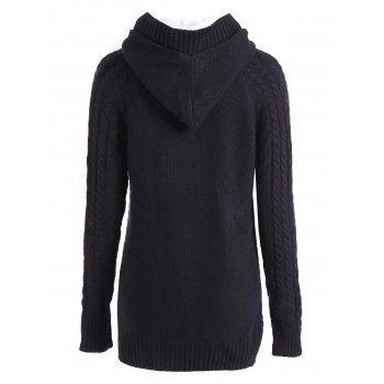 Women's Chic Long Sleeve Solid Color Hooded Cardigan - BLACK M