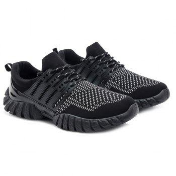Colour Block Lace-Up Splicing Athletic Shoes - BLACK 40