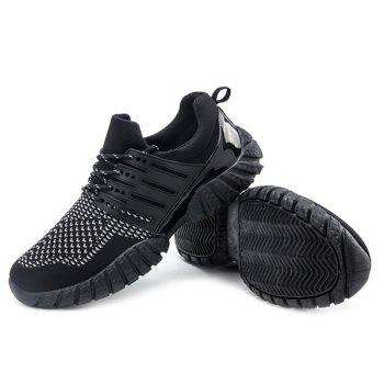 Colour Block Lace-Up Splicing Athletic Shoes - BLACK 44