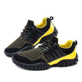Colour Block Lace-Up Splicing Athletic Shoes - YELLOW/BLACK 41