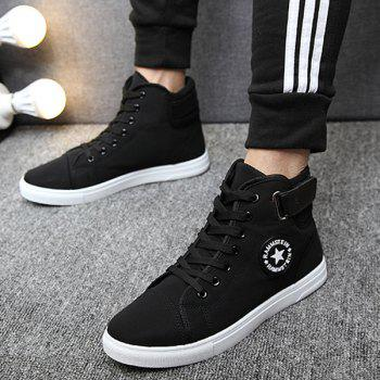 Star Pattern Tie Up High Top Canvas Shoes - BLACK 42