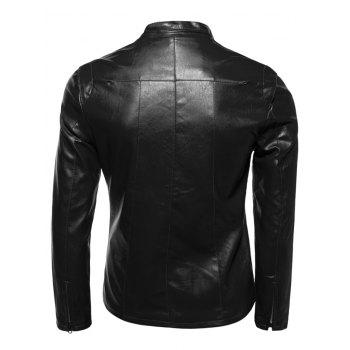 Mince Zip-Up Stand Collar PU-Veste en cuir - Noir XL