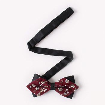 Business Suit Small Flowers Print Sharp-Angled Double-Deck Bow Tie - WINE RED