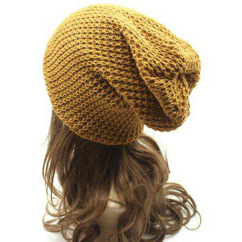 Casual Openwork Weaving Double-Deck Knit Beanie - ORANGE YELLOW