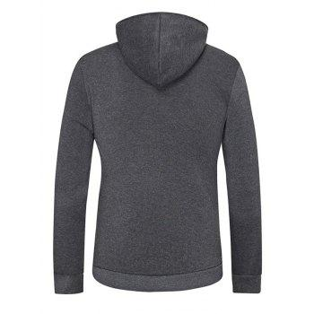 Kangaroo Pocket Snap Button Hoodie - DEEP GRAY L