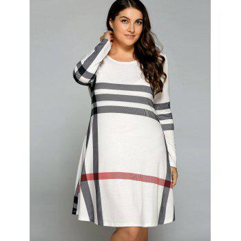 Plus Size Striped Long Sleeve T-Shirt Dress - OFF WHITE 2XL