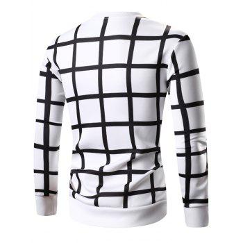 Long Sleeve Grille Imprimé Sweatshirt - Blanc 3XL