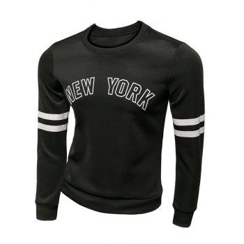 New York Varsity rayé Sweat ras du cou - Noir 2XL