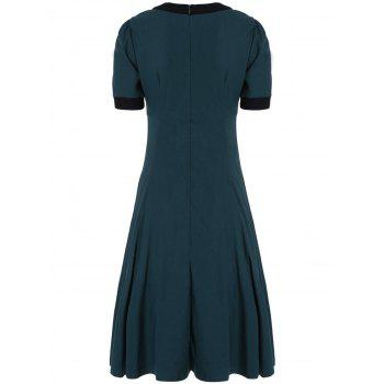 Retro High Waist Buttoned Contrast Color Dress - GREEN L