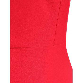 Vintage Sweetheart Neck Swing High Waist Dress - RED S