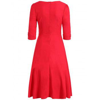 Vintage Sweetheart Robe à taille haute - Rouge L