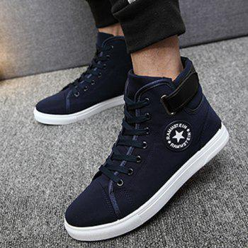 Star Pattern Tie Up High Top Canvas Shoes - DEEP BLUE 43