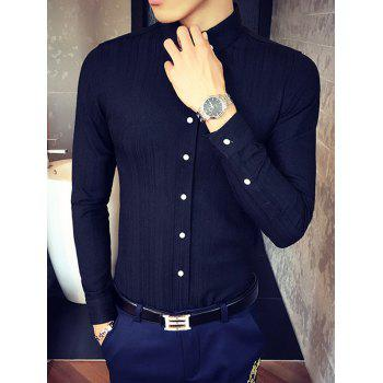 Manches longues Slim Fit Button-Down Shirt - Noir L