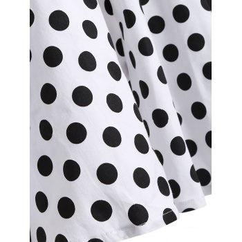 Polka Dot Halter Retro Swing Fit and Flare Dress - WHITE XL