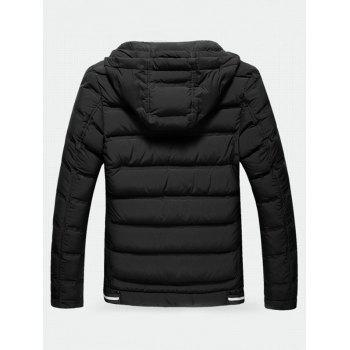 Hooded Contrast Zipper Quilted Jacket - BLACK XL