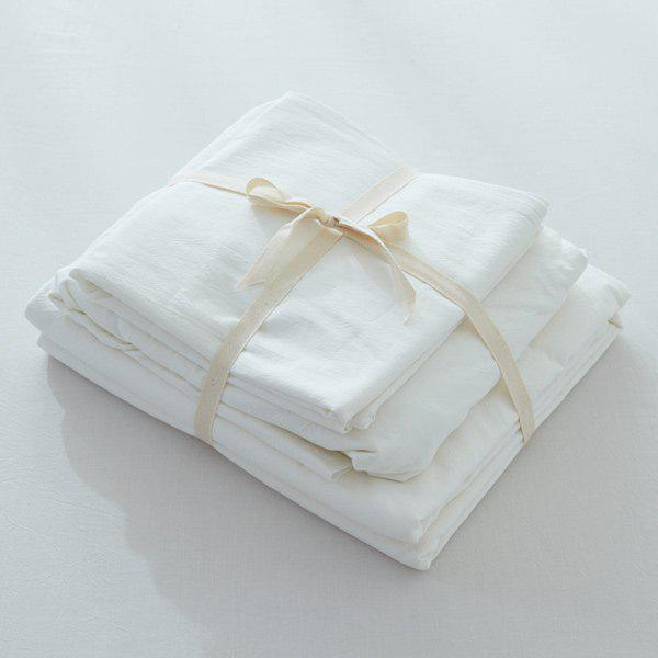 Washable Soft Cotton Fitted Sheet 4PCS Bedding Set - WHITE QUEEN