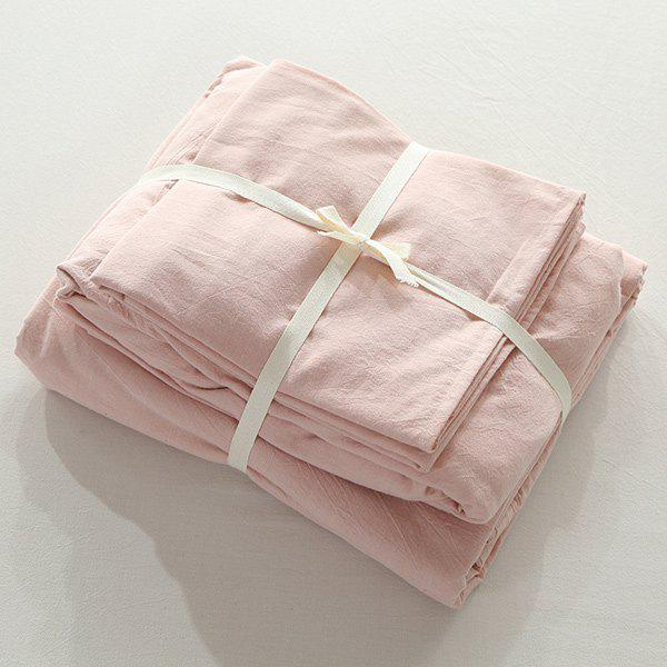 Washable Soft Cotton Fitted Sheet 4PCS Bedding Set - PINK QUEEN